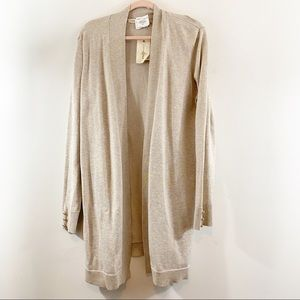 Retrology Open Front Oatmeal Cardigan Sweater NWT